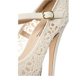 Anne Michelle Shoes - Crochet Lace Heels Mary Jane Strap Beige Stiletto